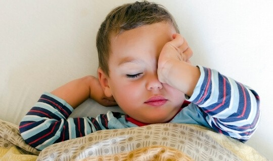sleepy toddler at bedtime