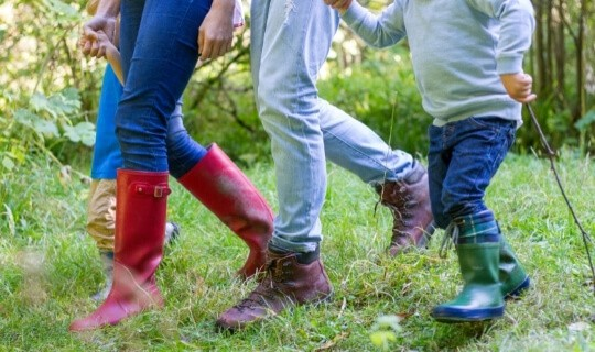 Family walk together to spend time together