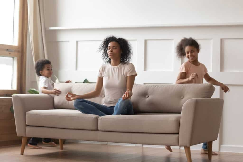 Mindful parenting - mom practicing mindfulness