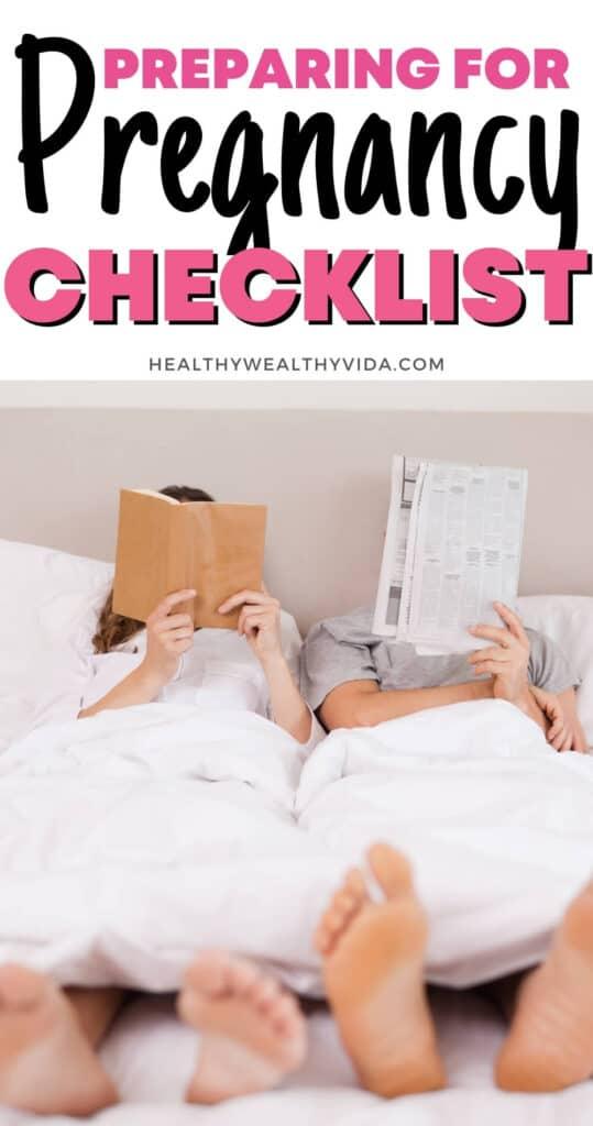 preparing for pregnancy checklist pin