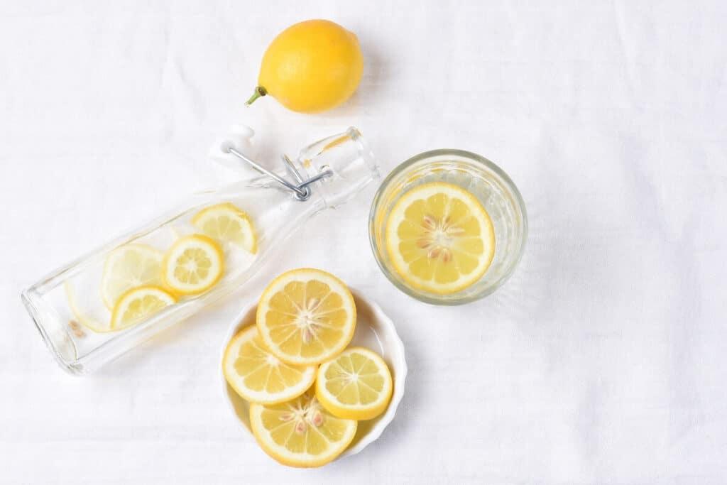 Fresh lemon water in the morning