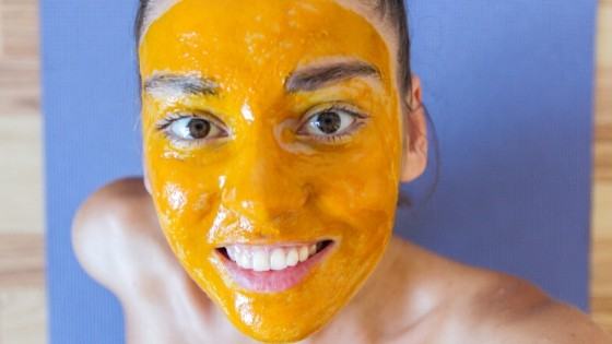 Girl With Turmeric face mask for skin