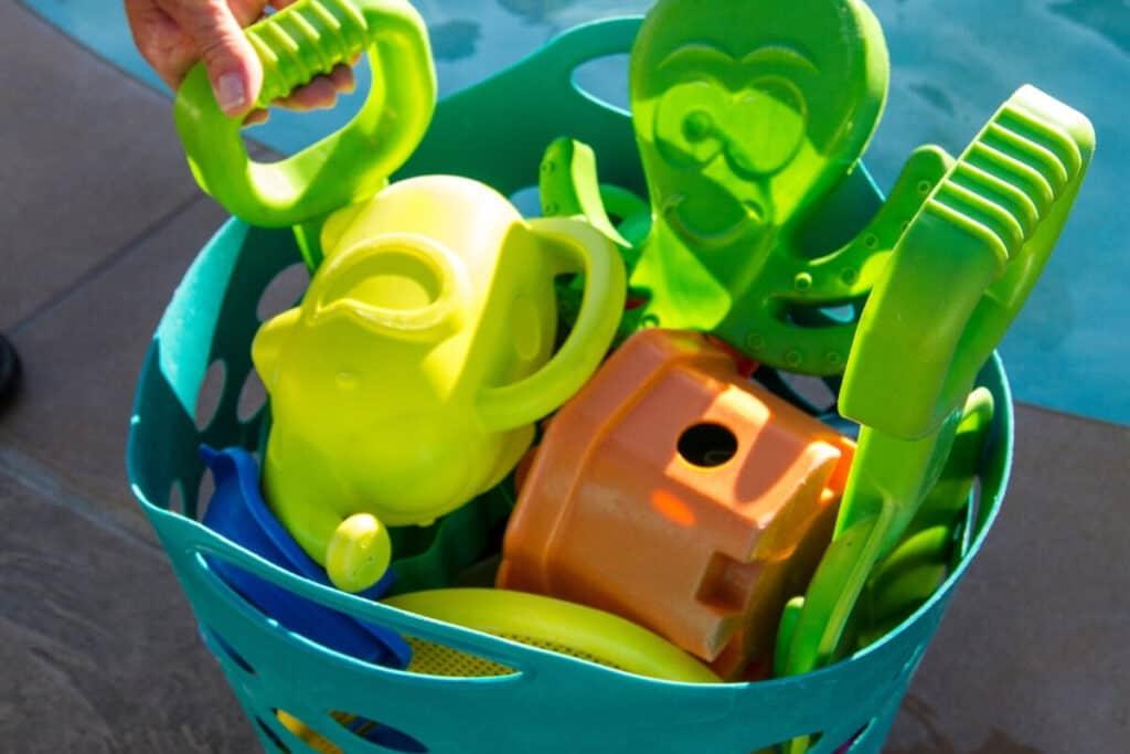 pool toys in basket