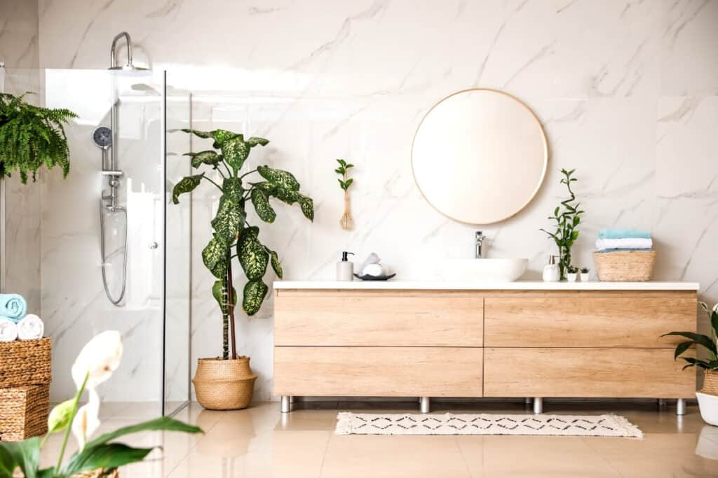 Plants In bathroom for spa vibe